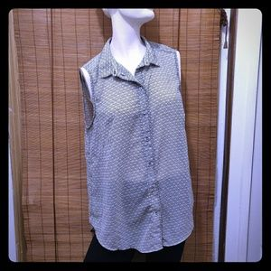 Sleeveless sheer button blouse H&M size 14